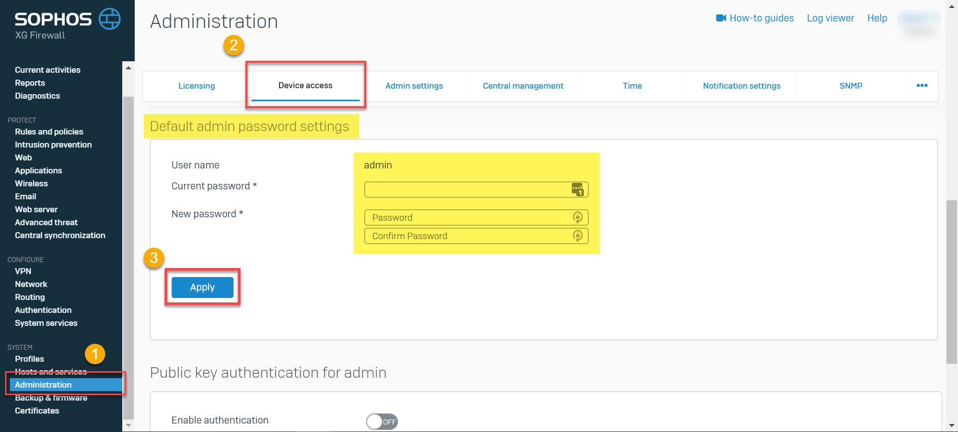 Sophos Firewall: Reset the admin password
